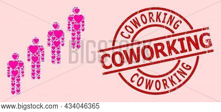 Scratched Coworking Stamp, And Pink Love Heart Mosaic For People Queue. Red Round Stamp Contains Cow