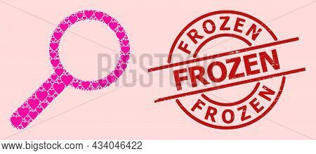 Grunge Frozen Stamp Seal, And Pink Love Heart Mosaic For Zoom. Red Round Stamp Seal Has Frozen Tag I