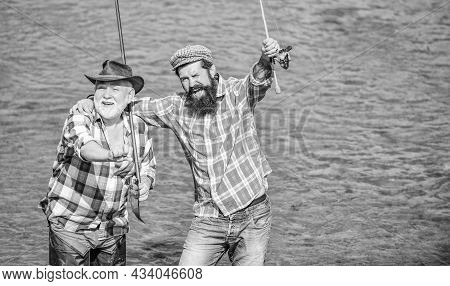 Male Friendship. Family Bonding. Summer Weekend. Coming Together Is A Beginning. Men Fisher. Father