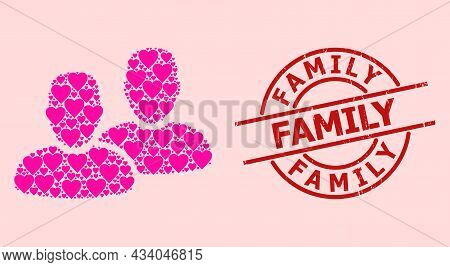 Scratched Family Seal, And Pink Love Heart Collage For Clients. Red Round Stamp Seal Includes Family
