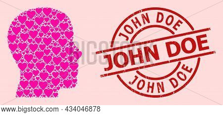 Grunge John Doe Stamp, And Pink Love Heart Collage For Man Profile. Red Round Stamp Includes John Do