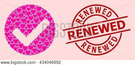 Grunge Renewed Stamp Seal, And Pink Love Heart Mosaic For Yes Mark. Red Round Stamp Contains Renewed