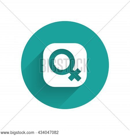 White Female Gender Symbol Icon Isolated With Long Shadow Background. Venus Symbol. The Symbol For A