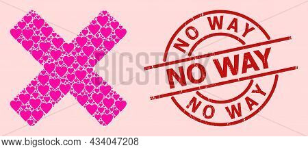 Rubber No Way Seal, And Pink Love Heart Collage For Reject Cross. Red Round Seal Includes No Way Tit