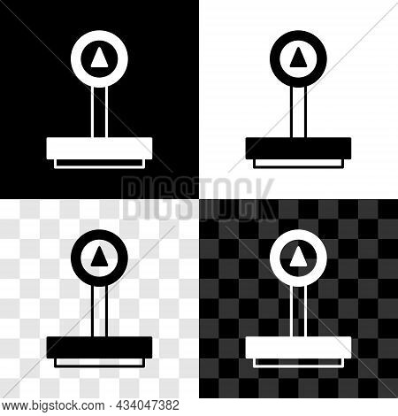 Set Scale Icon Isolated On Black And White, Transparent Background. Logistic And Delivery. Weight Of