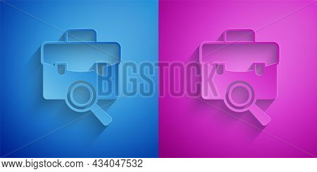 Paper Cut Magnifying Glass With Briefcase Icon Isolated On Blue And Purple Background. Job Hunting.