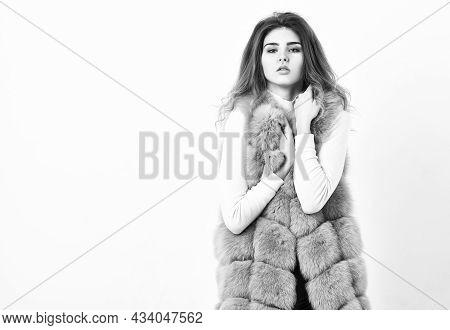 Girl Curly Hairstyle Enjoy Soft Warm Violet Furry Coat. Fashion Trend Concept. Violet Fur Vest Fashi