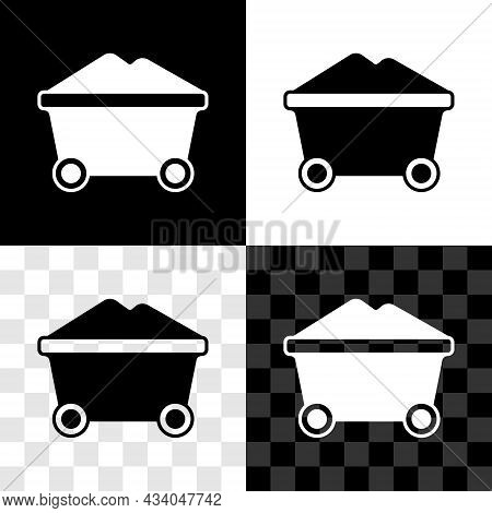 Set Coal Mine Trolley Icon Isolated On Black And White, Transparent Background. Factory Coal Mine Tr