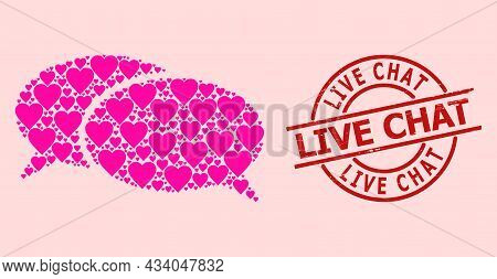 Textured Live Chat Stamp Seal, And Pink Love Heart Mosaic For Chat. Red Round Stamp Seal Has Live Ch