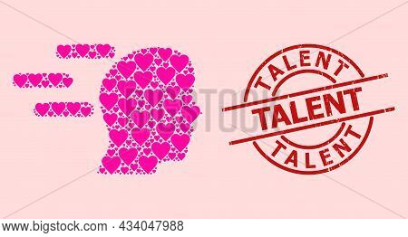 Rubber Talent Stamp, And Pink Love Heart Mosaic For Rush Mind. Red Round Stamp Seal Includes Talent