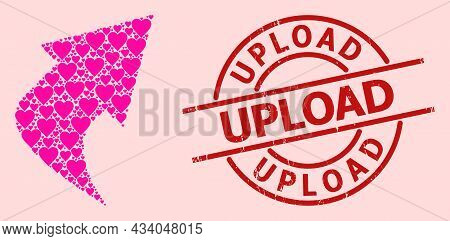 Grunge Upload Stamp Seal, And Pink Love Heart Mosaic For Upload Arrow. Red Round Stamp Includes Uplo