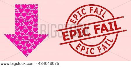 Textured Epic Fail Stamp Seal, And Pink Love Heart Pattern For Fall Down Arrow. Red Round Stamp Seal