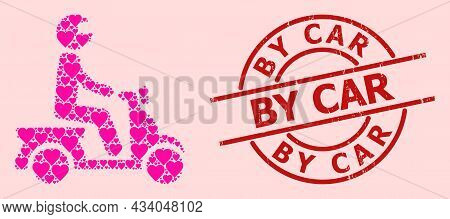 Distress By Car Stamp Seal, And Pink Love Heart Pattern For Motorbike Driver. Red Round Stamp Seal I