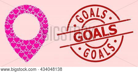Grunge Goals Seal, And Pink Love Heart Mosaic For Map Pointer. Red Round Stamp Seal Has Goals Text I