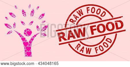 Rubber Raw Food Stamp, And Pink Love Heart Mosaic For Ecology Man. Red Round Stamp Includes Raw Food