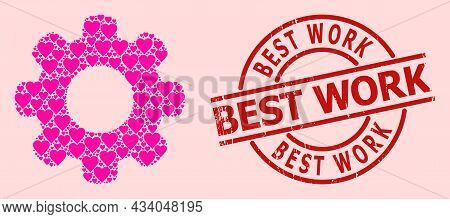 Grunge Best Work Stamp Seal, And Pink Love Heart Collage For Gear Wheel. Red Round Stamp Seal Contai