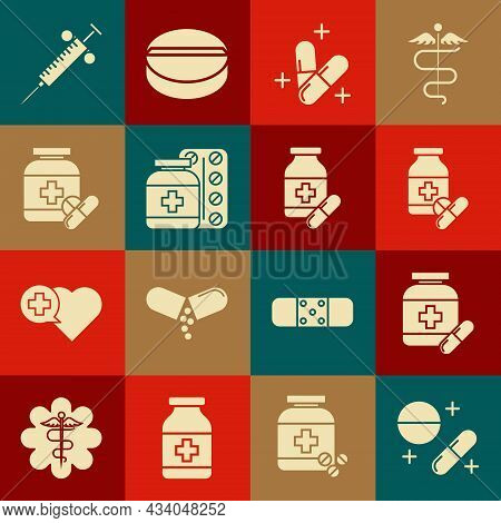 Set Medicine Pill Or Tablet, Bottle And Pills, Syringe And Icon. Vector