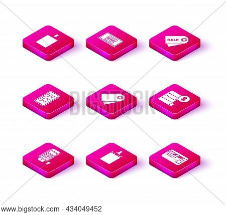 Set Pos Terminal With Inserted Credit Card, Blank Label Template Price Tag, Credit, Check And Financ