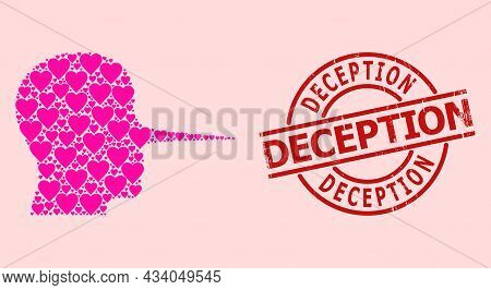 Distress Deception Seal, And Pink Love Heart Pattern For Liar Person. Red Round Stamp Seal Contains