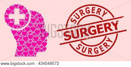 Scratched Surgery Stamp Seal, And Pink Love Heart Collage For Head Treatment. Red Round Stamp Seal I