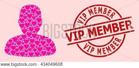 Textured Vip Member Stamp Seal, And Pink Love Heart Pattern For Person Profile. Red Round Stamp Seal