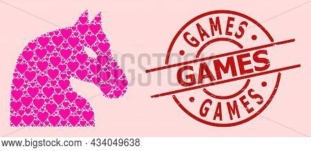 Textured Games Stamp Seal, And Pink Love Heart Pattern For Chess Horse. Red Round Stamp Seal Has Gam