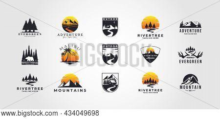 Set Bundle Mountain Bundle Mountain Adventure Outdoor Landscape Logo Vector Set Illustration Design
