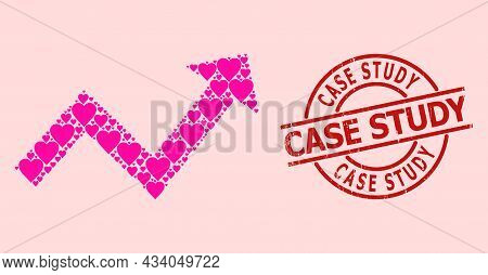 Scratched Case Study Stamp Seal, And Pink Love Heart Pattern For Trend Up Arrow. Red Round Stamp Sea