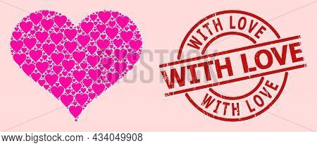 Distress With Love Stamp, And Pink Love Heart Mosaic For Love Heart. Red Round Stamp Has With Love T