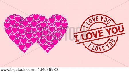 Distress I Love You Stamp Seal, And Pink Love Heart Mosaic For Lovely Hearts. Red Round Stamp Seal C