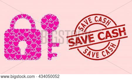 Textured Save Cash Stamp Seal, And Pink Love Heart Collage For Secrecy. Red Round Stamp Contains Sav