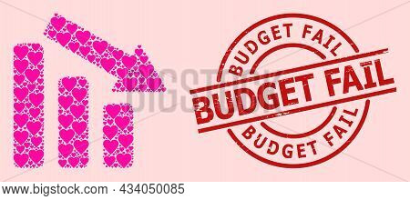 Distress Budget Fail Seal, And Pink Love Heart Collage For Down Trend Bar Chart. Red Round Seal Incl
