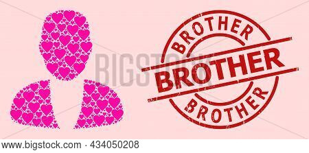 Grunge Brother Stamp Seal, And Pink Love Heart Mosaic For Guy Person. Red Round Stamp Seal Has Broth