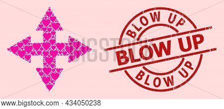 Scratched Blow Up Badge, And Pink Love Heart Mosaic For Expand Arrows. Red Round Badge Has Blow Up T