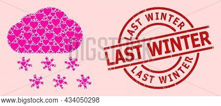 Distress Last Winter Stamp Seal, And Pink Love Heart Mosaic For Snow Weather. Red Round Stamp Has La