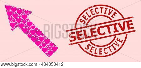 Rubber Selective Stamp, And Pink Love Heart Mosaic For Left Up Arrow. Red Round Stamp Seal Includes