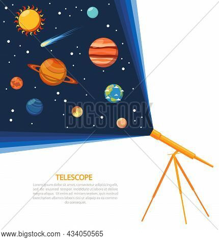 Telescope With Solar System Comets And Stars Concept Poster Flat Vector Illustration