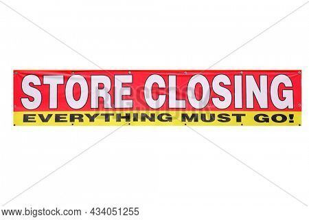 STORE CLOSING. Everything must go!. Store Closing Banner. Isolated on white. Clipping Path. Room for text.