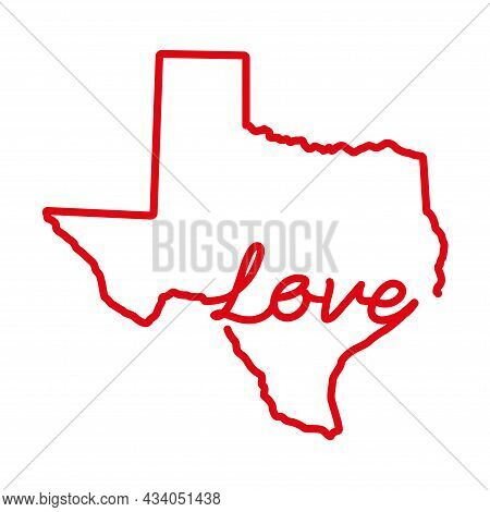 Texas Us State Red Outline Map With The Handwritten Love Word. Continuous Line Drawing Of Patriotic
