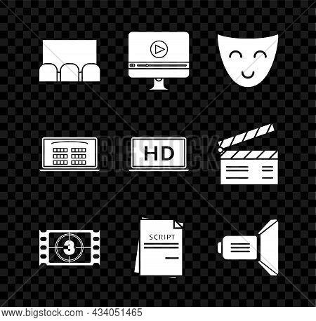 Set , Online Play Video, Comedy Theatrical Mask, Play Video, Scenario, Movie Spotlight, Buy Cinema T