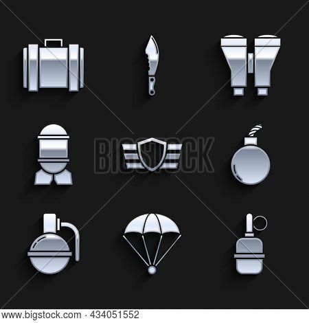 Set Military Reward Medal, Parachute, Hand Grenade, Bomb Ready To Explode, Aviation Bomb, Binoculars
