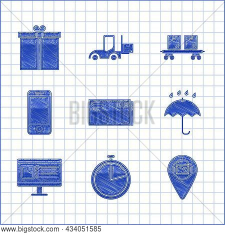 Set Envelope, Stopwatch, Placeholder On Map Paper, Umbrella And Rain Drops, Computer Monitor With Ap