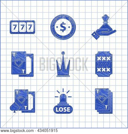 Set Crown, Casino Losing, Playing Card With Heart, Slot Machine Lucky Sevens Jackpot, Hand Holding M
