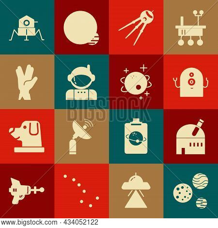 Set Planet, Astronomical Observatory, Alien, Satellite, Astronaut, Vulcan Salute, Mars Rover And Ico