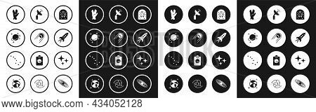 Set Alien, Satellite, Planet, Vulcan Salute, Rocket Ship With Fire, Radar, Falling Star And Great Be