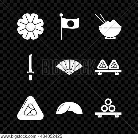 Set Flower, National Flag Of Japan On Pole, Rice In Bowl With Chopstick, Sushi, Chinese Fortune Cook