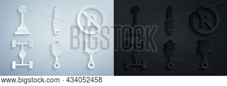 Set Engine Piston, No Parking Or Stopping, Chassis Car, Car Spark Plug And Gear Shifter Icon. Vector