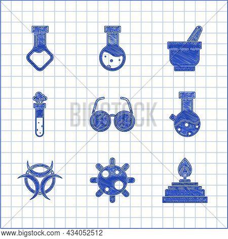 Set Laboratory Glasses, Bacteria, Alcohol Spirit Burner, Test Tube And Flask Chemical, Biohazard Sym