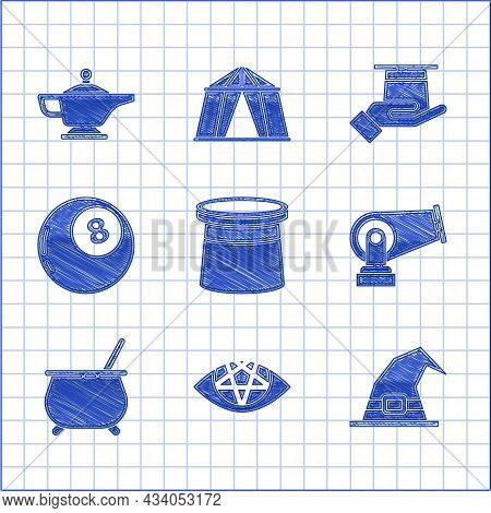 Set Magician Hat, Pentagram, Witch, Cannon, Cauldron, Ball Of Predictions, In Hand And Lamp Or Aladd