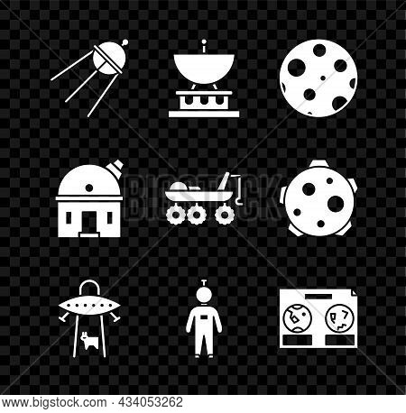 Set Satellite, Dish, Moon, Ufo Abducts Cow, Astronaut, Celestial Map Of The Night Sky, Astronomical